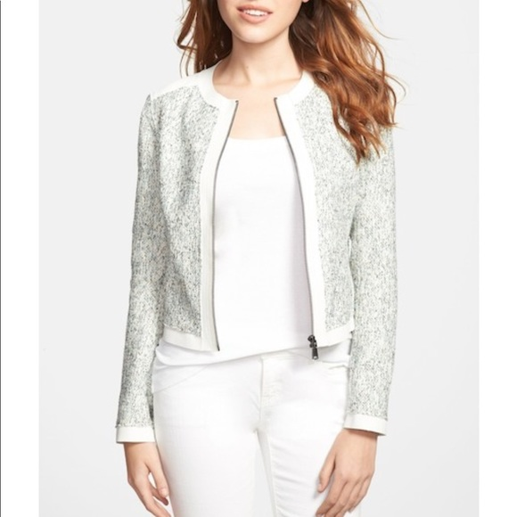 Elie Tahari Womens Lace Detail Collarless Blazer